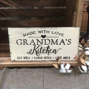 Grandmas handcrafted sign